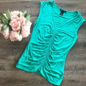 {WHBM} Teal Sleeveless Blouse